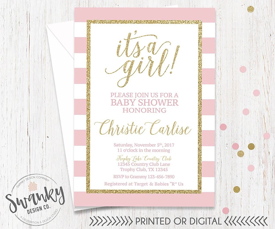 Pink And Gold Baby Shower Invitations Template