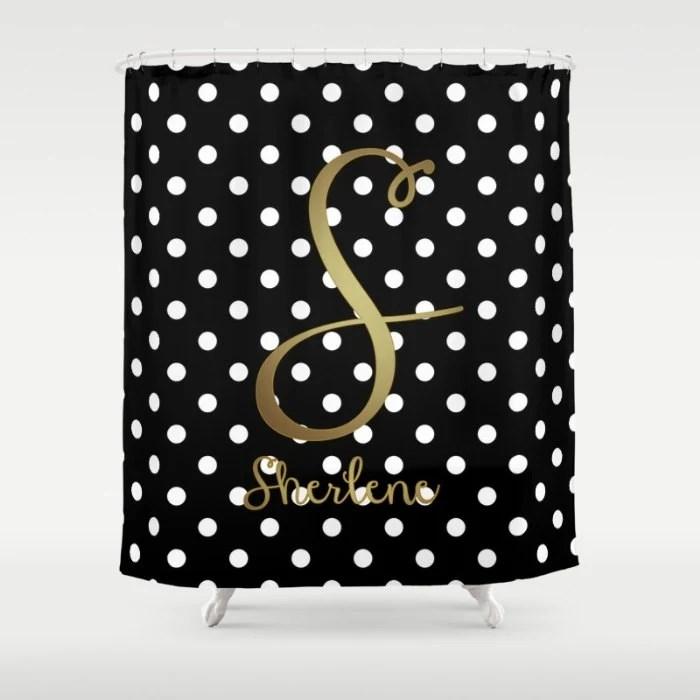 Monogrammed Shower Curtain Black White Polka Dot Gold By Hhprint