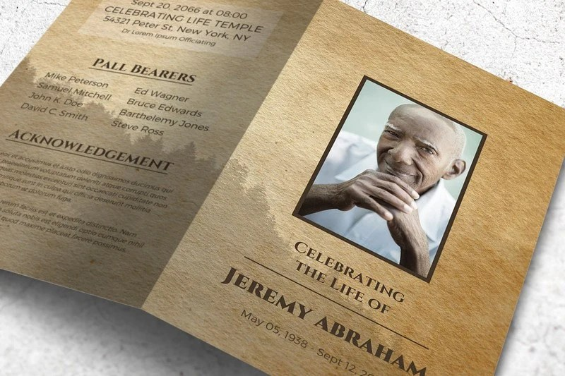 Cardboard Style Funeral Program Memorial Program Template