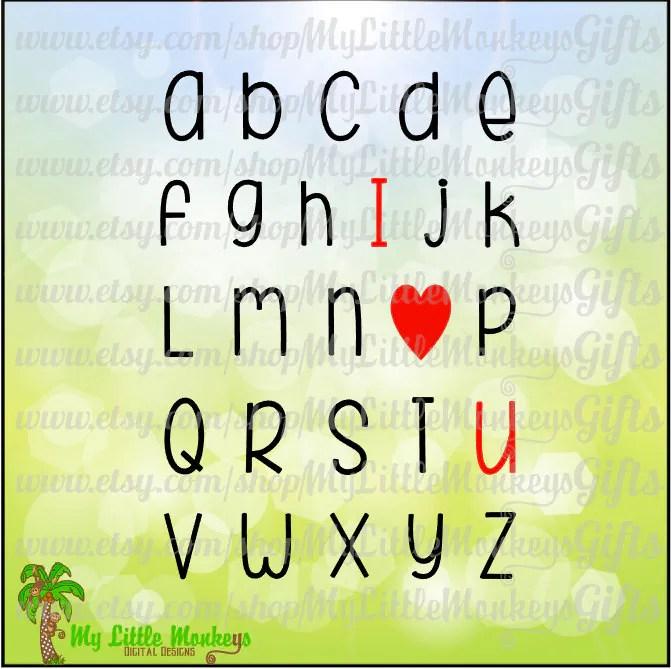 Download Kids SVG I Heart You I Love You Alphabet Chart