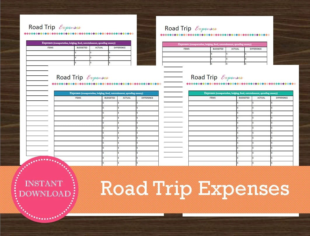 Road Trip Expense Tracking Sheet Travel Planner Vacation