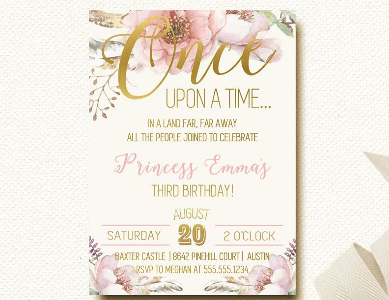 Once Upon A Time Invitation Fairytale Birthday By