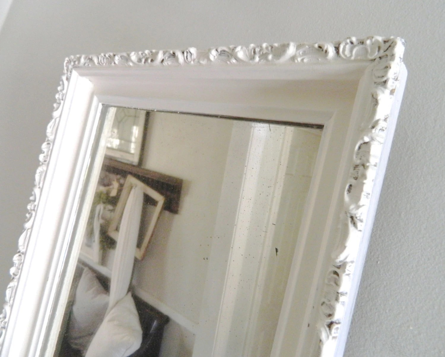 Vintage White Mirror Wood Frame