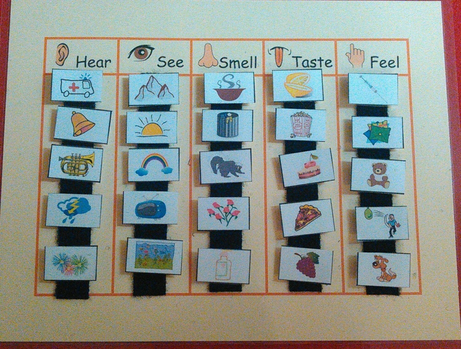 5 Senses Grouping Sorting Velcro Match Quiet Book Page