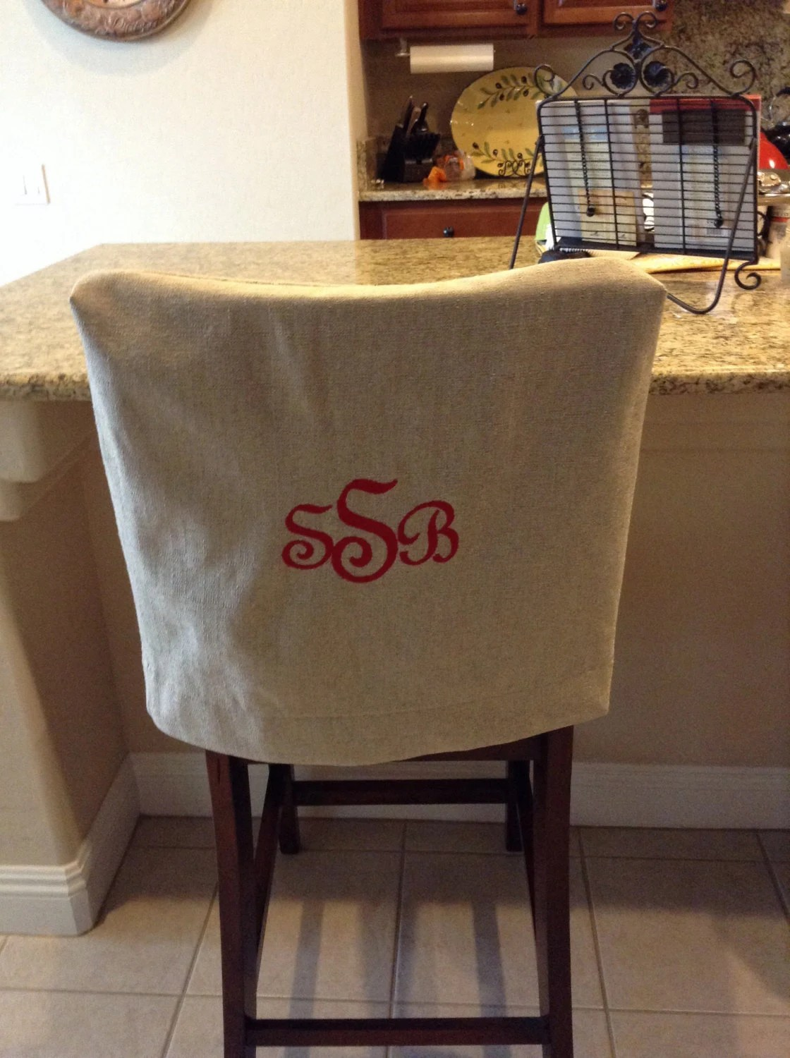 Monogrammed Chair Back Cover Natural Linen Washable Fabric