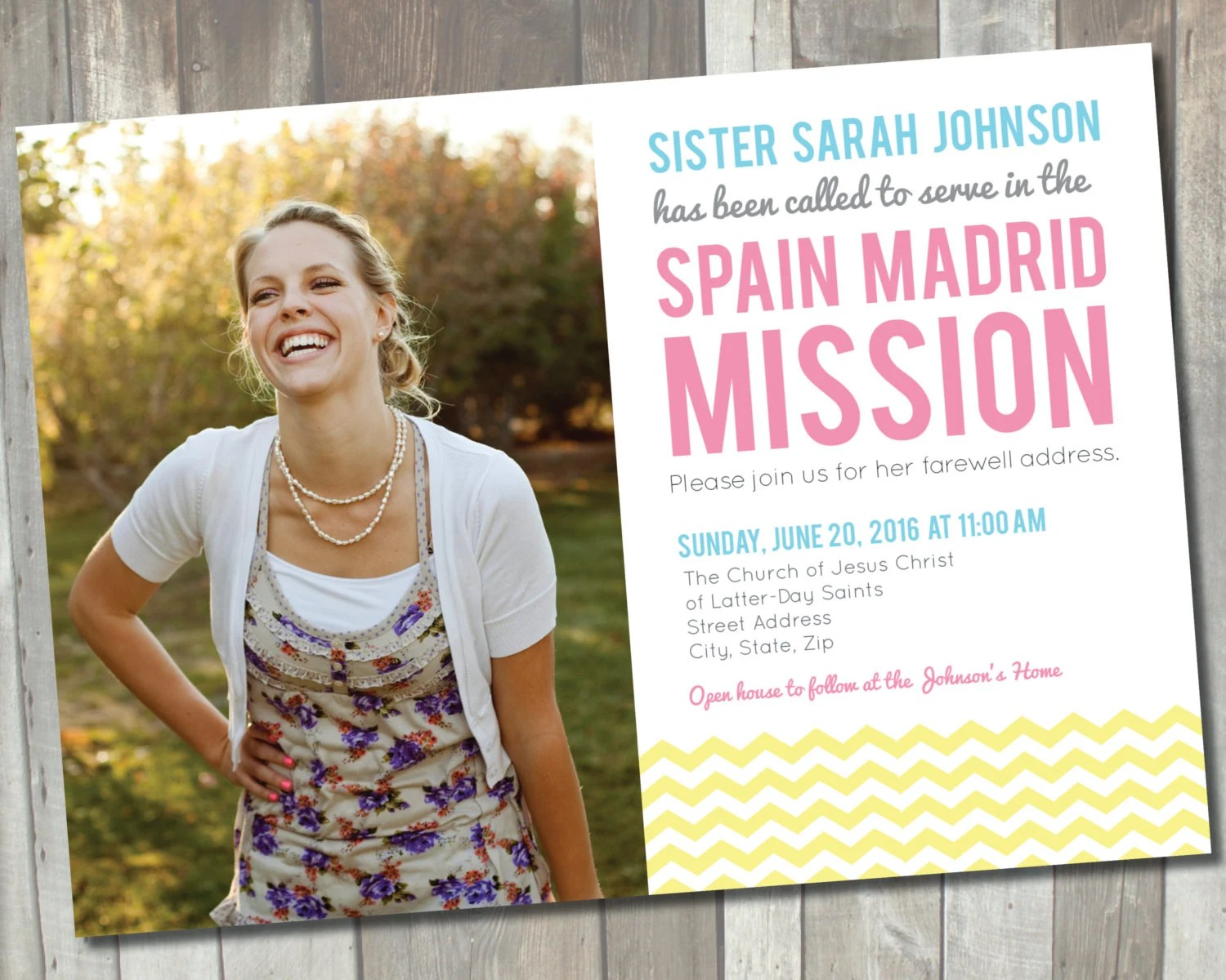 Missionary Announcement Card Printable Lds Sister Missionary