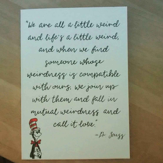 Hand Illustrated Dr Seuss Card Anniversary Wedding
