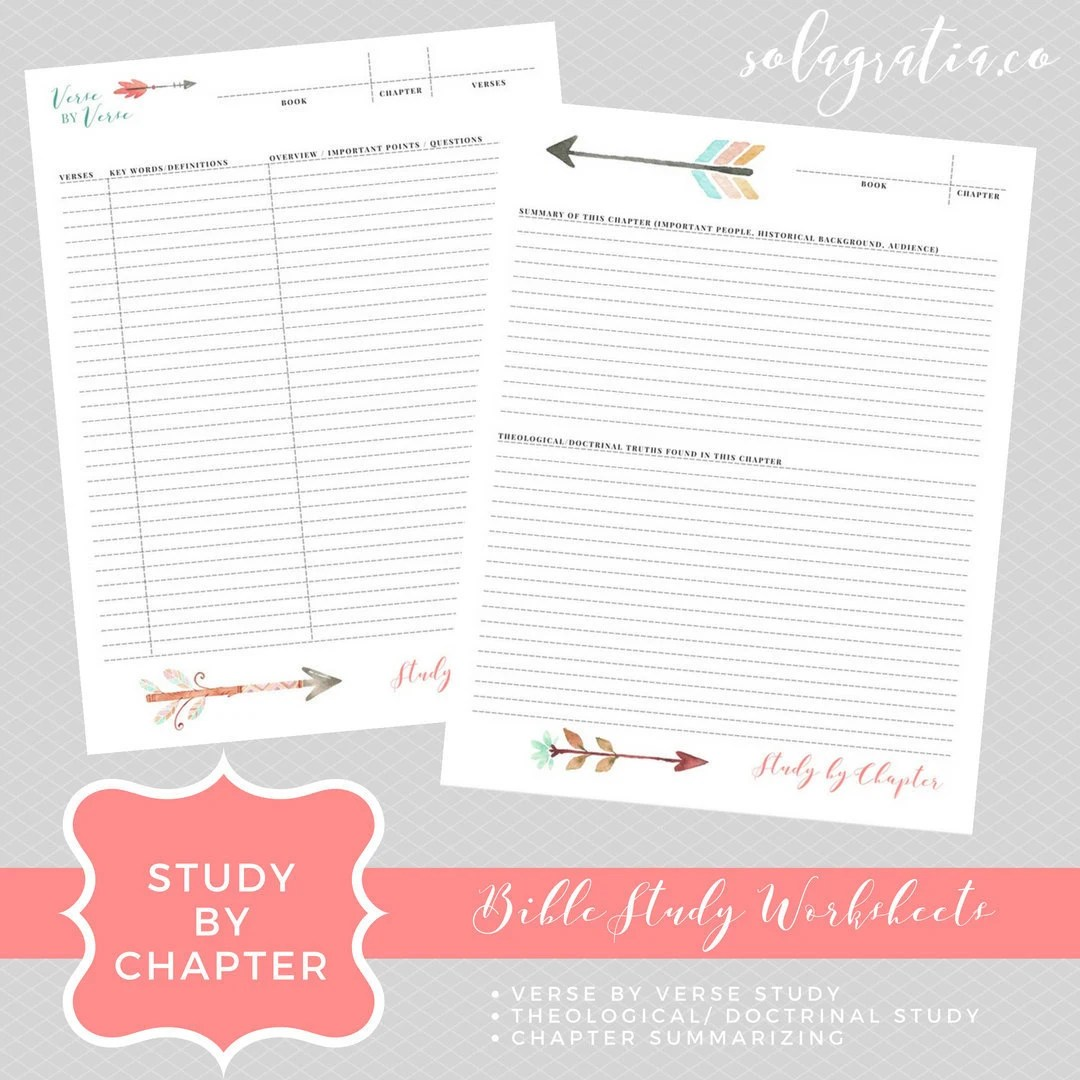 Study By Chapter Bible Study Worksheets By Solagratiaco