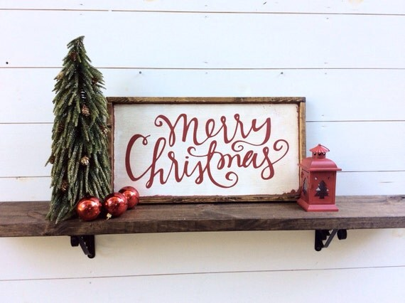 Merry Christmas Sign Rustic Christmas Sign By