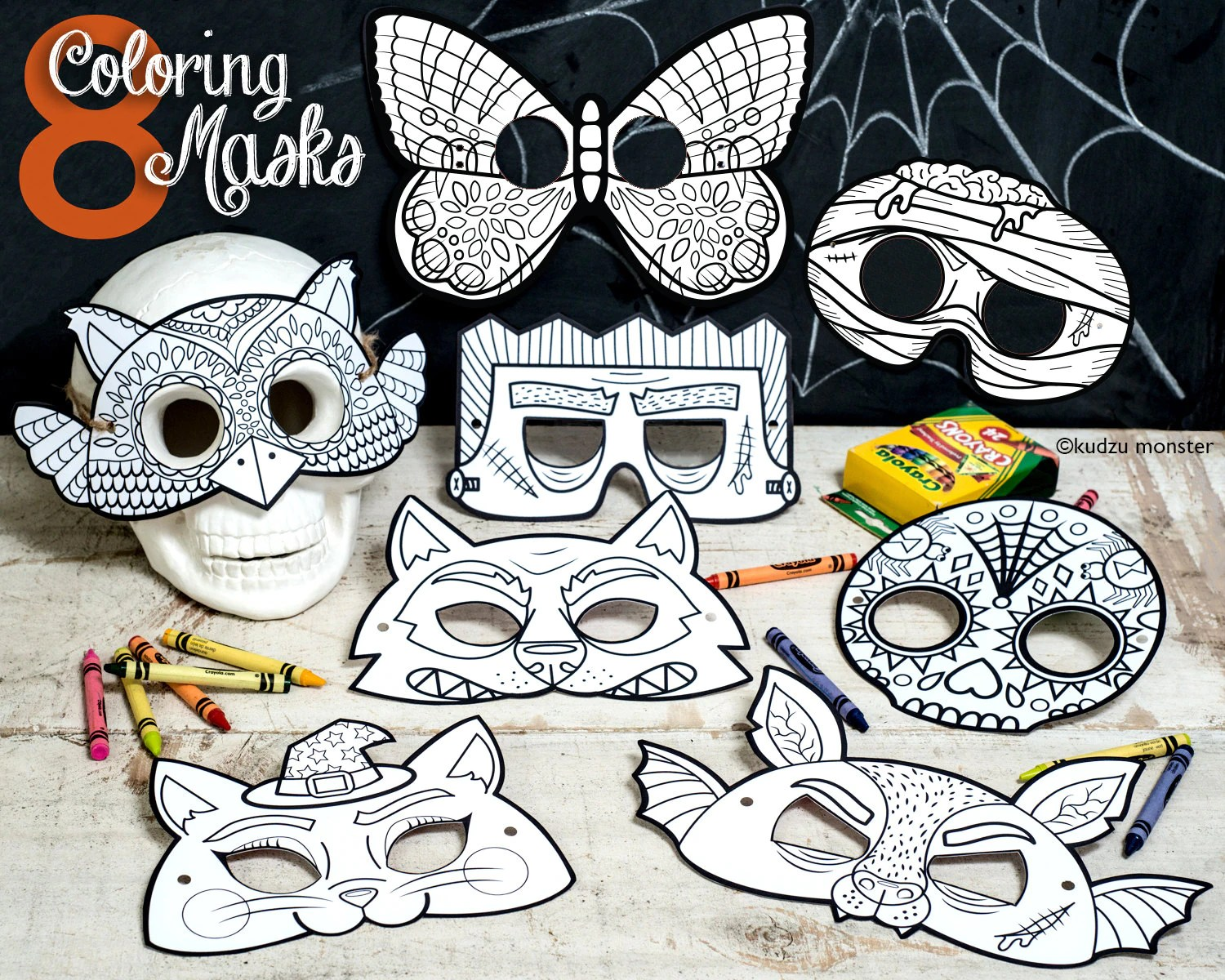 Halloween Printable Coloring Masks Set Of 8 Owl Butterfly
