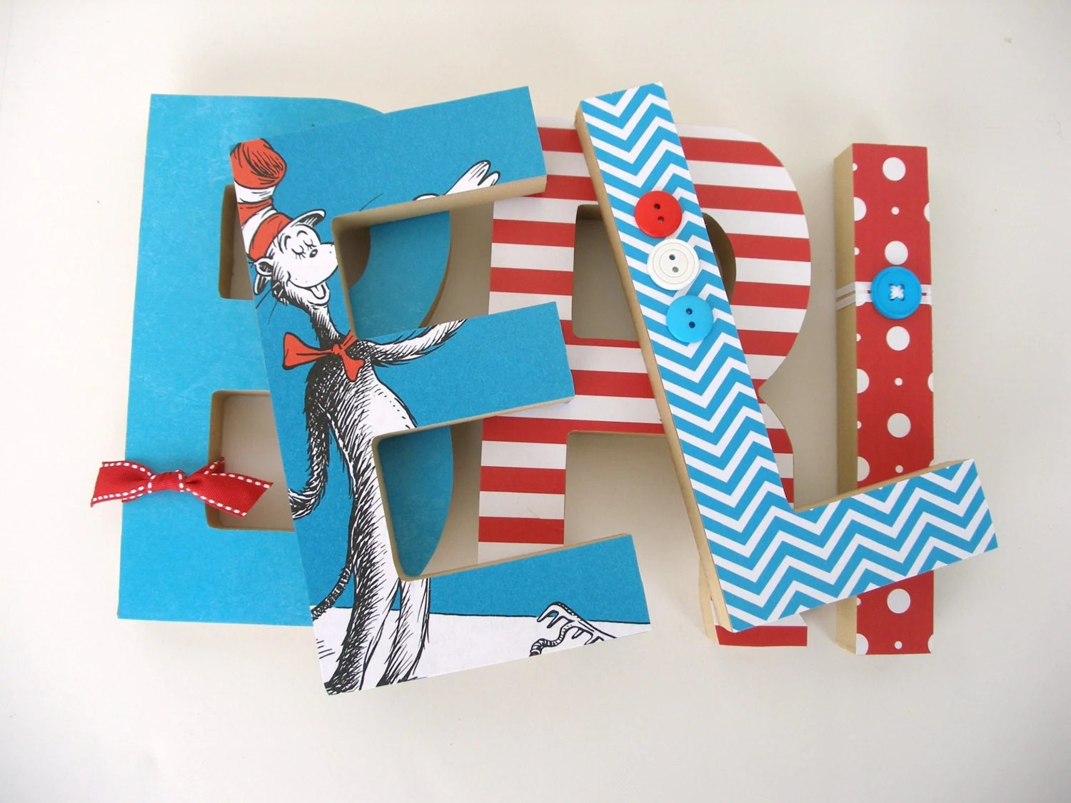 Dr Seuss Custom Wood Letters Children S Used Book Pages