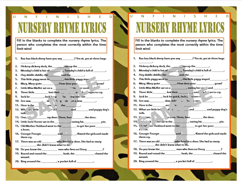 Unfinished Nursery Rhyme Lyrics Camouflage Printable Baby