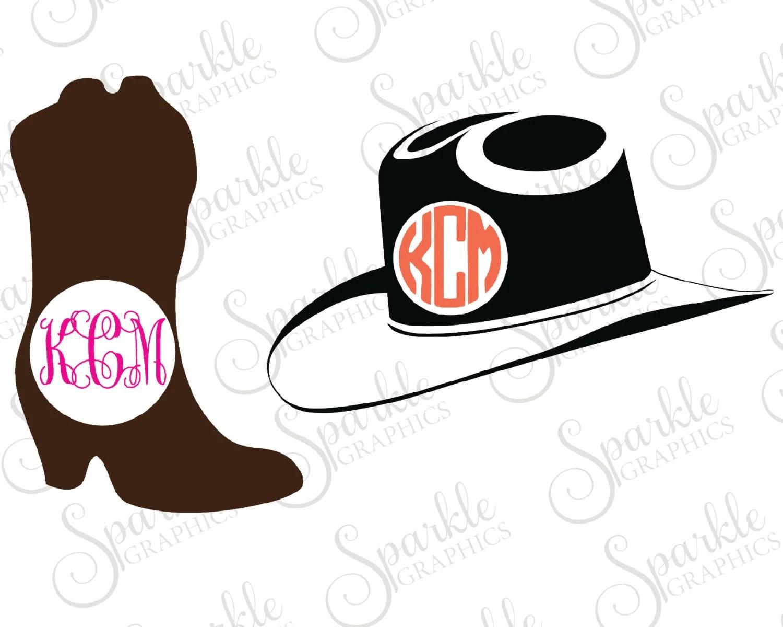 Monogram Cowboy Hat Svg