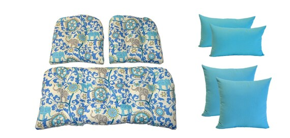 Outdoor Wicker Cushion And Pillow 7 Pc. Set Sapphire Blue