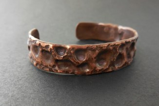 Copper cuff bracelet with air chased texture