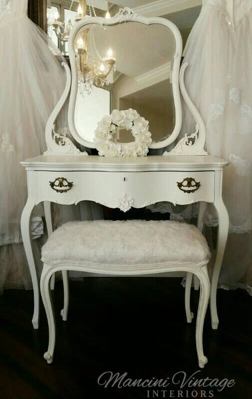 Sold Rare Antique Ladies Makeup Table Vanity Ivory White