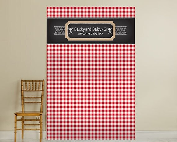 Personalized Photo Backdrop BBQ Red Black Checkered By TaaraBazaar