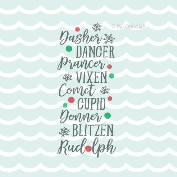Download Reindeer Names SVG Cricut Explore and more. Cut or Printable.