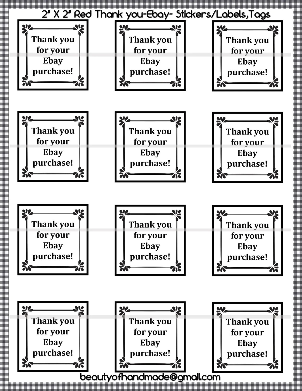 Instant Download Printable Thank You Printable Stickers