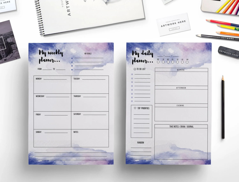 Creative Watercolor Weekly Planner Daily Planner Weekly