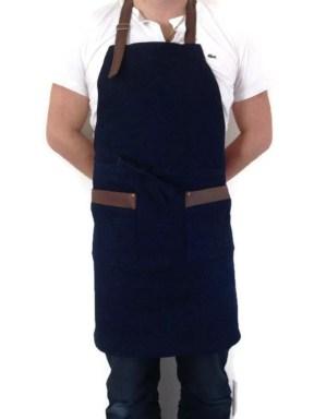 tablier de cuisine, tablier unisexe, tablier avec 2 poches en cuirette, tablier de denim marine extensible, tablier de chef, tablier jeans