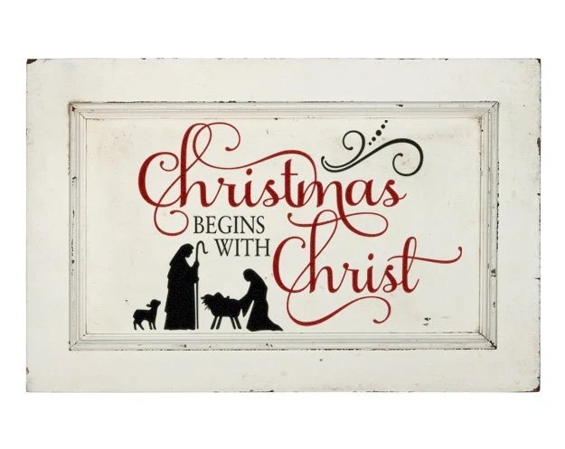 "Rustic Christmas Decorations Navity Decal ""Christmas Begins with Christ"" Nativity Scene Silhouette Religious Rustic Christmas Holiday Decal"