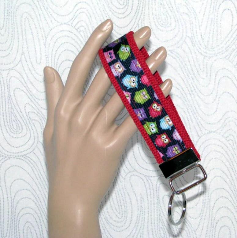 Key fob, key wristlet,key holder, keys, key chain, key holder, keys, house keys, house key holder, owls key fob, red key fob