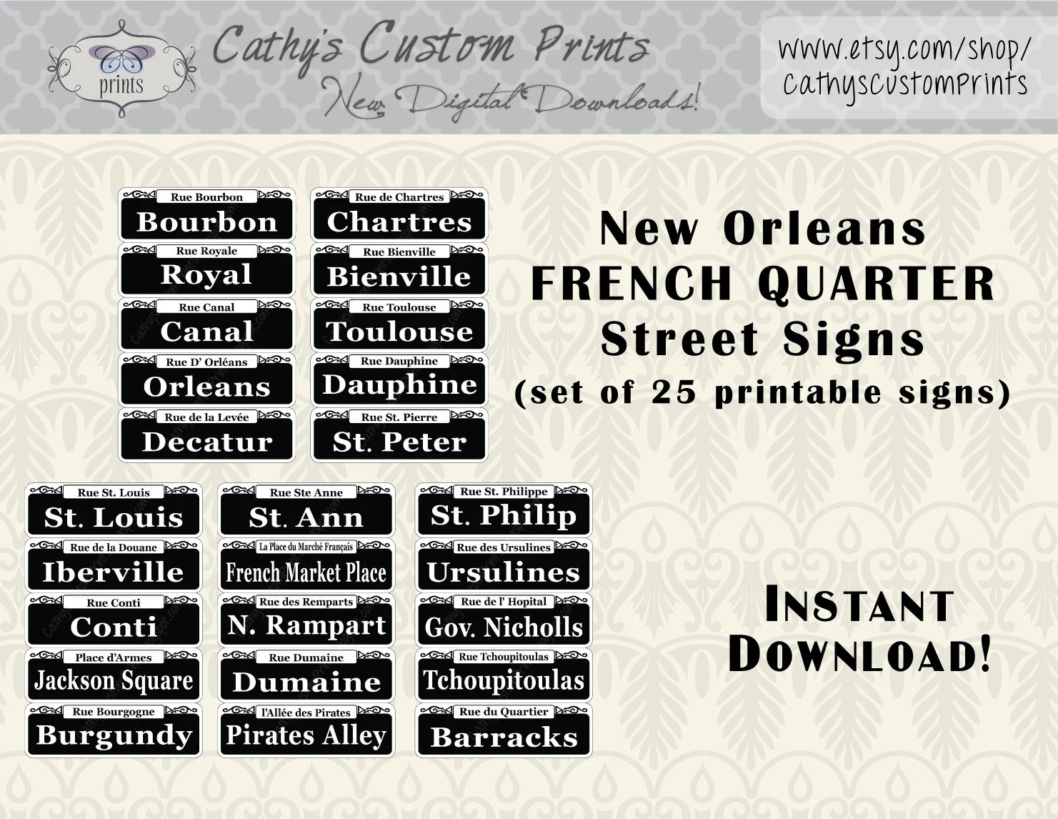 New Orleans French Quarter Printable Signs Set Of 25