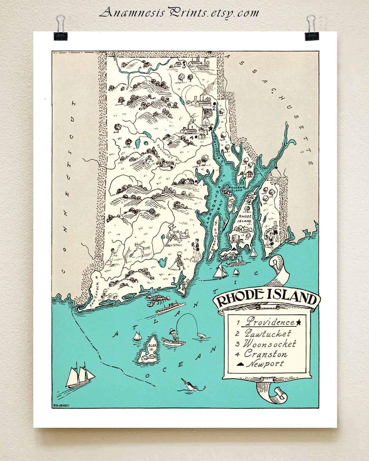 Rhode Island Map Pictorial Map Print Size Amp Color Choices