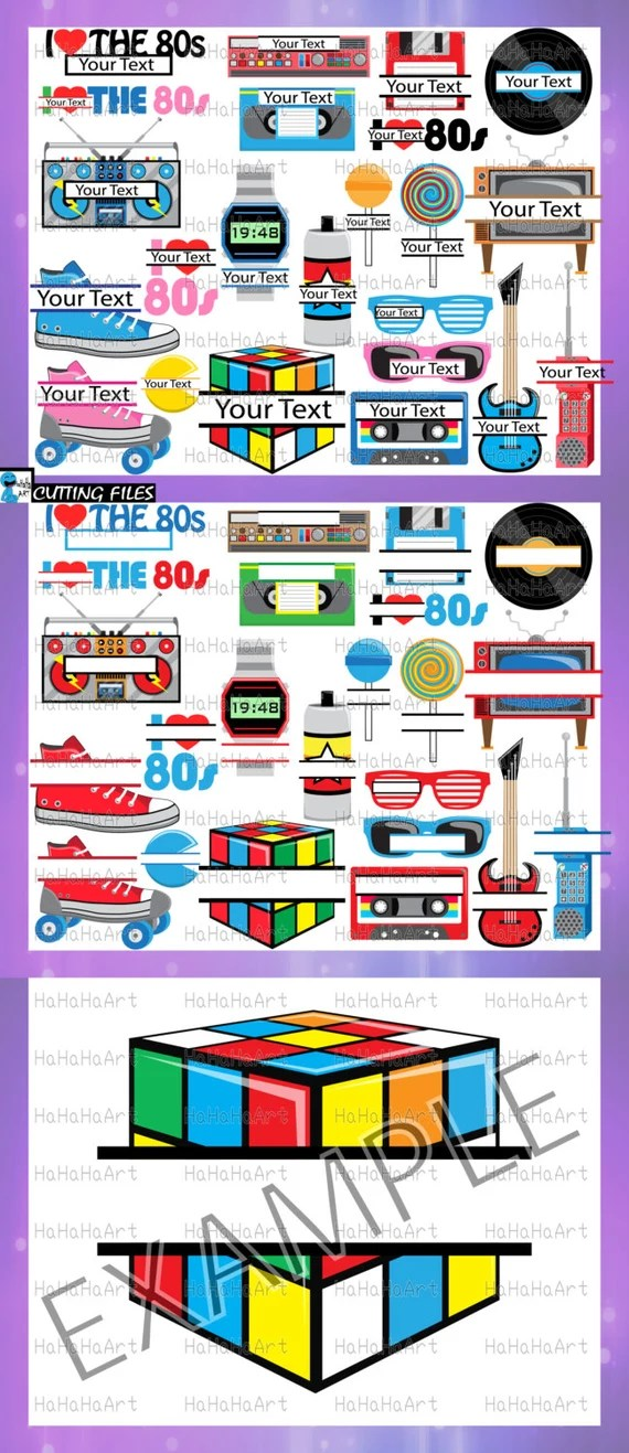 Download Split 1980s I Love The 80s v2 Cutting Files Svg Png Jpg Eps