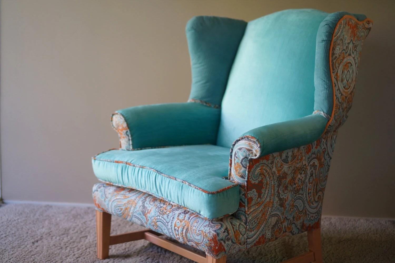 Chair Blue Velvet Accent