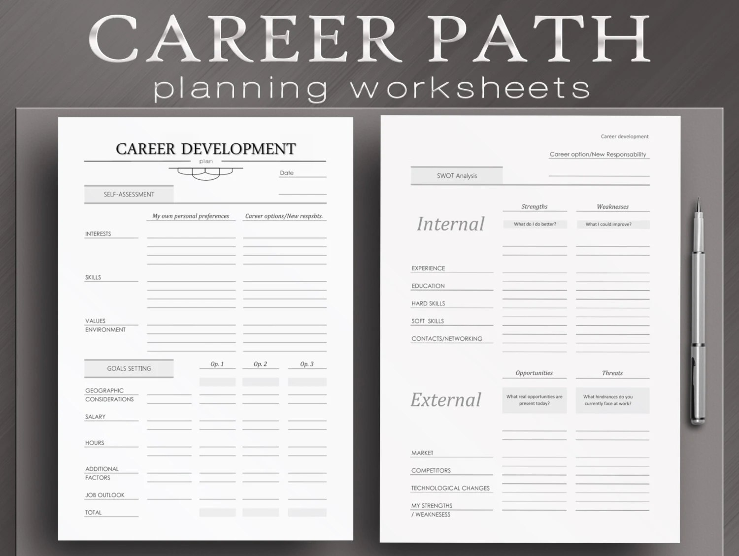 Career Path Worksheets 4 Printable Planner By Neatandcorporate