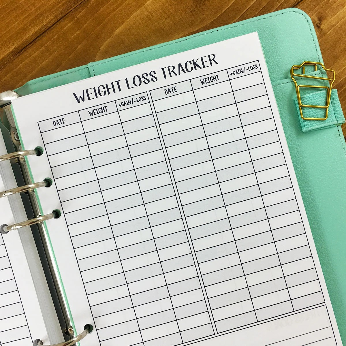 A5 Weight Loss Tracker Printed Planner Insert Weight