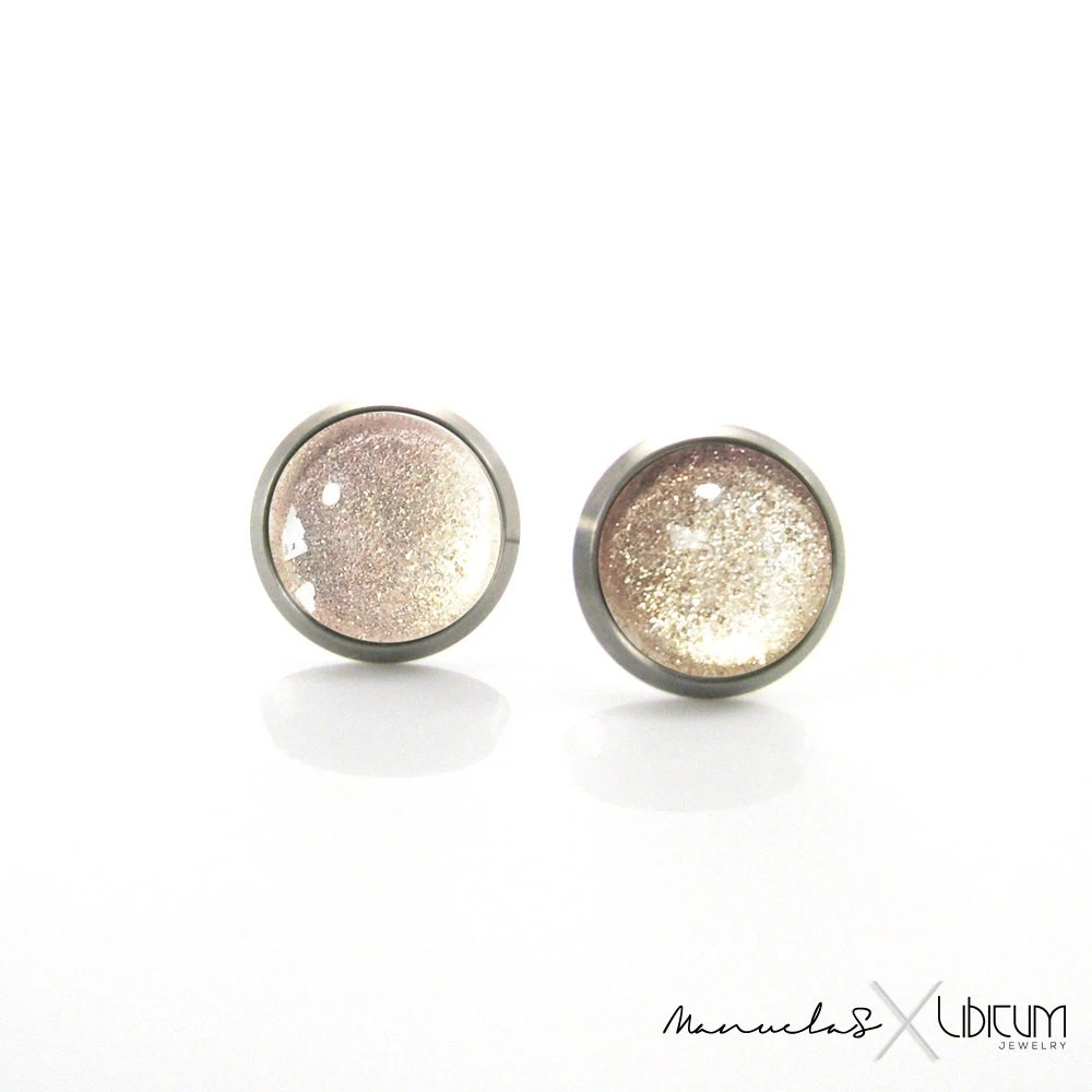 Pure Titanium Earrings For Sensitive Ears Beige Tan Gold