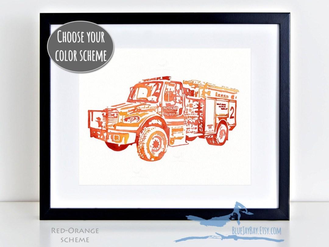 Rugged FIRE ENGINE #2 watercolor painting ~ Nantucket Fire Department Outland 4x4 fire truck firefighter ~ Original 8x10 - NOT a print