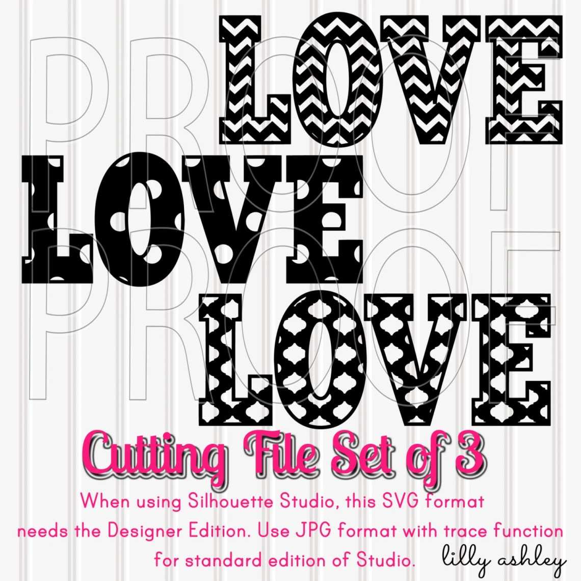 Download Love SVG Set of 3 Cutting Files with PNG & jpg format Chevron