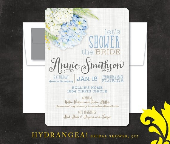 Bridal Shower Invitations Blue Hydrangeas