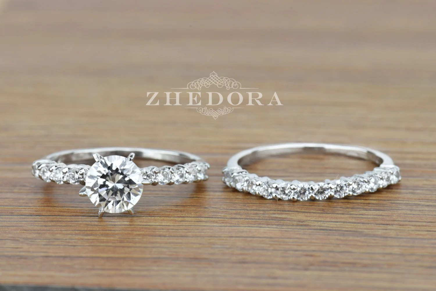 Round Engagement Bridal Set Band In SOLID 14k Or 18K White