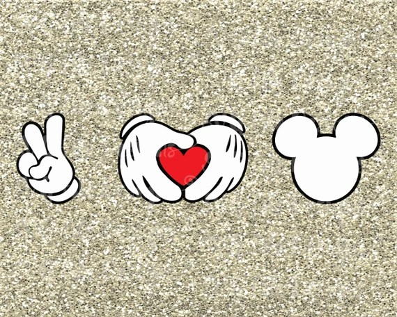 Download Peace Love Mickey Hands Heart Disney Iron On by SVGFileDesigns