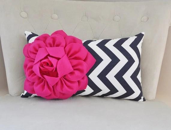 Pink And Navy Decorative Pillow Chevron Navy Decor Lumbar