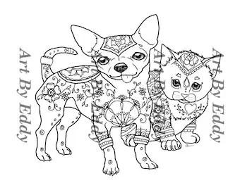 chihuahua coloring etsy