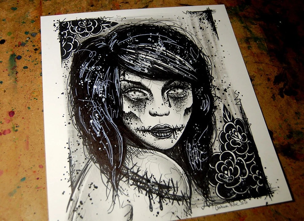ORIGINAL Drawing Zombie Girl 10x11 Inch Pen And Pencil Drawing