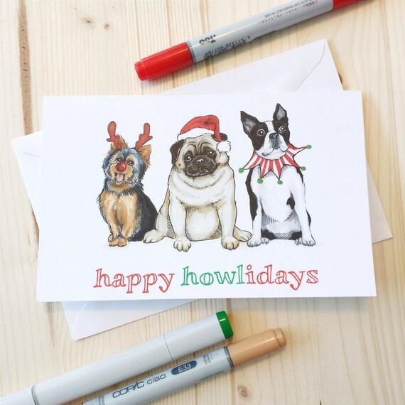 Items Similar To Happy Howlidays Dog Christmas Greeting