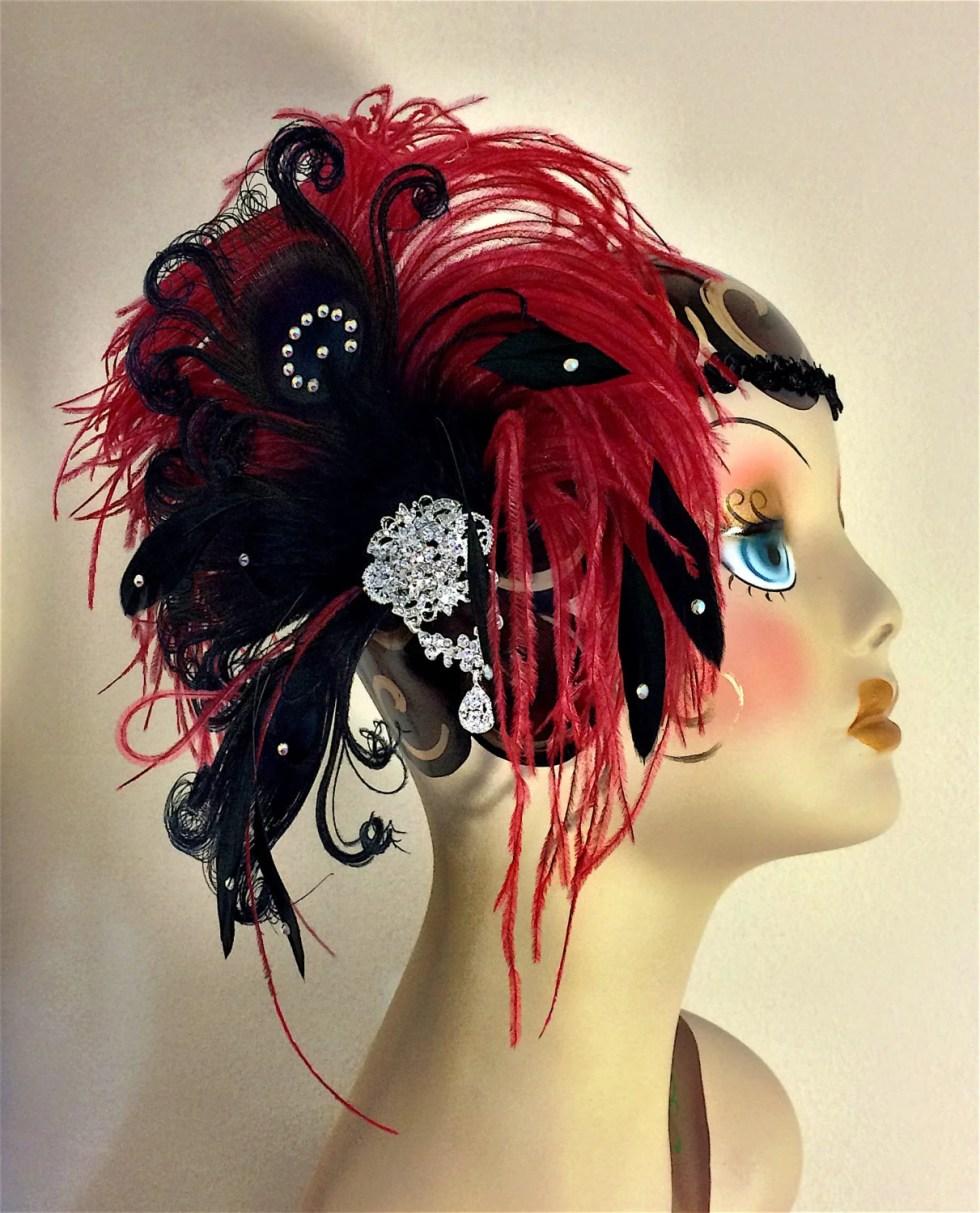 Art Deco Flapper Headband, The Great Gatsby, Downton Abbey, 1920s Headpiece, Daisy Buchanan, 1920s Flapper, Dark Red and Black