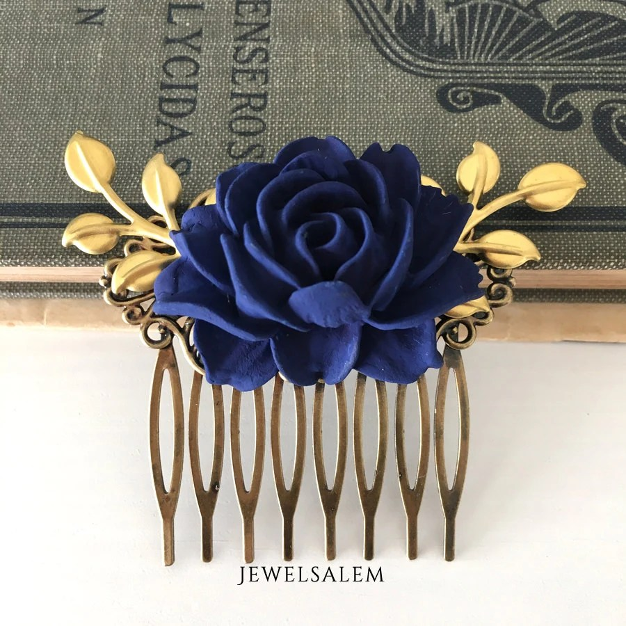 Wedding Hair Comb Bridesmaids Hair Accessories Navy Blue