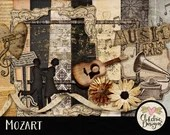 Music Digital Scrapbook Clip Art Kit - Mozart - Musical Ephemera Themed Embellishments & Digital Papers