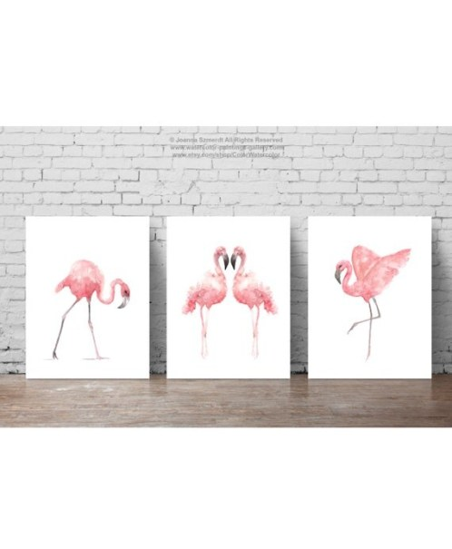 Flamingo Watercolor Painting, Summer Print Tropical Bird Poster Set 3 Flamingos, Pink Birds Animal Art, Kids Nursery Illustration, Baby Girl