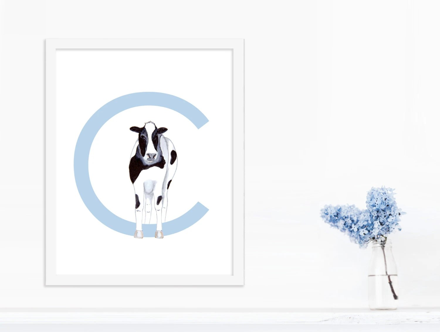 The Letter C Nursery Letter Art C Is For Cow Letter Wall