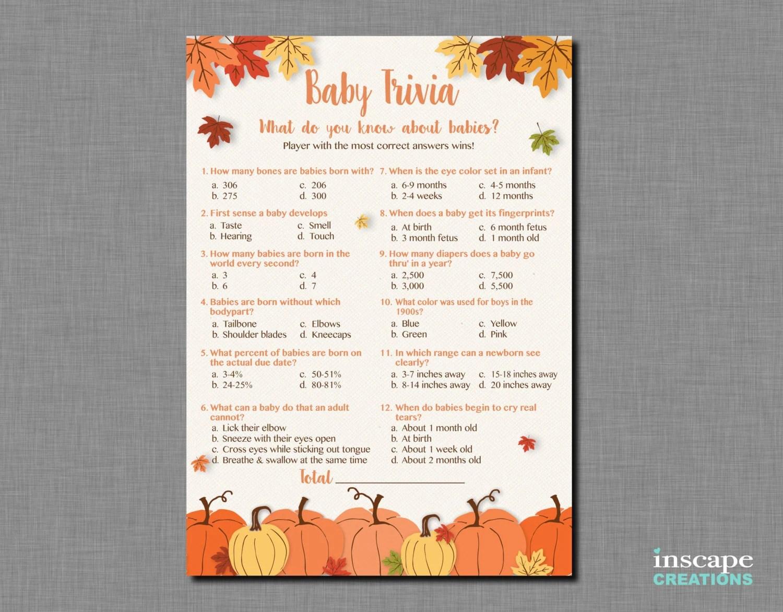 Baby Trivia Game Printable Pumpkin Baby Shower Baby Trivia