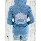 Yoga Lotus sweatshirt-zip up hoody-super soft fleece lining- with design in white eco friendly ink